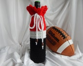 Wine Cozy - Crochet Wine Bottle Covers Sacks Gift Bags - Atlanta Falcons Inspired with Football Beads