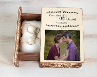 Photo Ring Bearer Box Personalized Wedding Box Еngagement Ring Box Custom photo memory box Wedding Ring Box Personalized Photo Keepsake Box