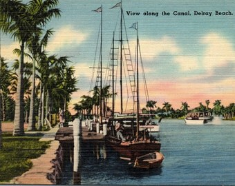 Delray Beach, Florida, Canal - Linen Postcard - Postcard - Unused (B1)
