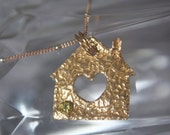 Golden House Pendant, Realtor Gift for New Home Owners, Realtor Gift, House & Heart Pendant