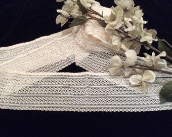Vintage Ivory Nylon Lingerie Lace, Vintage Sewing Supplies, Vintage Lace Pillow Edging