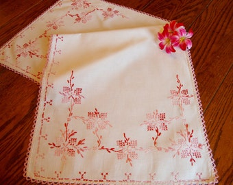 French Dresser Scarf Vintage Pink Floral Embroidered Table Runner Crochet Trim French Linens