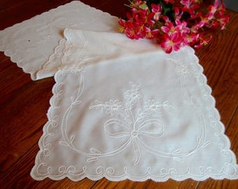 White Dresser Scarf Sheer Organdy Floral Rope Embroidery Table Runner Vintage Table Linens