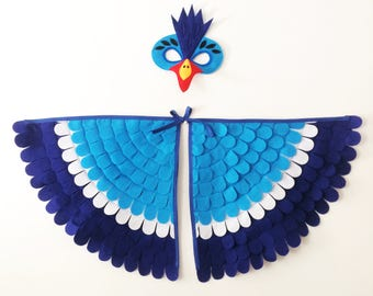 HORNBILL COSTUME // 2 piece set // Soft and Flappable! // Mask and wings!