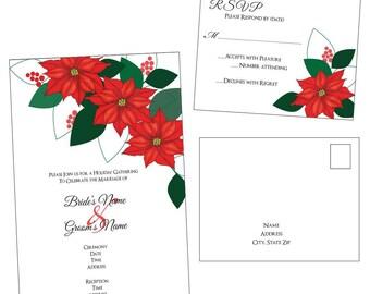 Customizable Poinsettia Wedding Invitation & RSVP Post Card - [Digital File ONLY]
