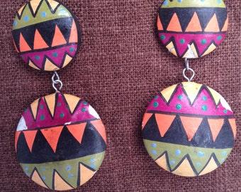 1990's Painted Wood Earrings African Tribal