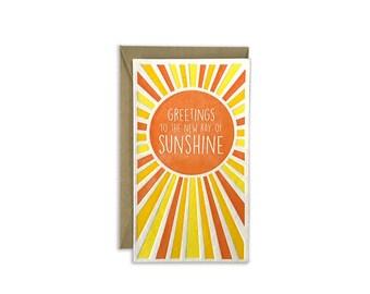 Letterpress Card Ray of Sunshine