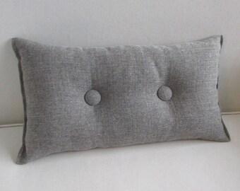 medina gray Toss Lumbar Accent Pillow 10x18 decorative throw with buttons