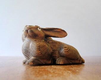 Vintage Japanese Carved Cryptomeria Wood Rabbit Figurine / Sculpture