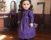 1880s Dress in Purple with Tiny Butterflies for your 18 inch American Girl doll