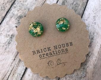 Green Gold Foil Earrings