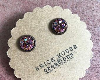 warm sparkle druzy earrings 10mm