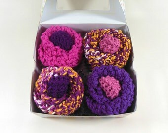 Baby Cupcakes, Washcloth Cupcakes, 4 Knitted Washcloths and 2 Sets of Baby Booties in Pink & Purple
