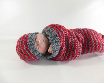 Knit Cocoon, Sleep Sack, Sleep Bag in Gray and Red Stripes