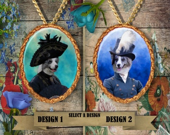 Border Collie Jewelry. Border Collie Pendant or Brooch. Border Collie Necklace. Border Collie Portrait. Custom Dog Jewelry by Nobility Dogs