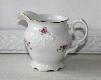 Vintage Wawel Creamer Tea Rose Pattern Made in Poland , Wawel Tea Rose Creamer Embossed White on White with Pink Roses , Shabby Chic