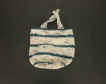 Vintage MACRAME CROCHET Recycled Plastic Bags Woven Handbag Purse Bag Shopping Market Tote
