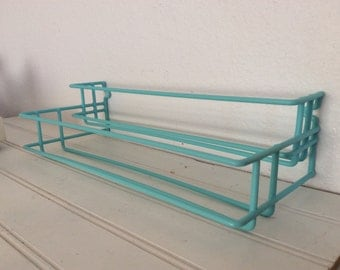 Vintage Aqua Turquoise Kitchen Spice Storage Rack - Shabby Cottage Chic - Retro - Beach Decor - Craft Room Storage -  Pantry Organization