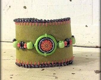 Chartreuse Leather Beaded Cuff Bracelet, Hippie Cuff, Leather Cuff Bracelet, Mother's Day Gift, Wrist Cuff
