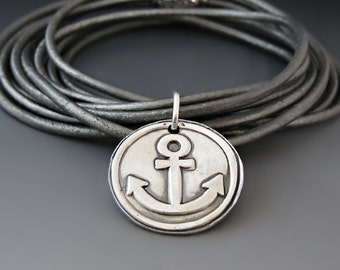Custom Leather Wrap Bracelet / Anchor Charm / Refuse to Sink / Graduation Gift / Gifts for Her / Choker Necklace / Personalized Jewelry