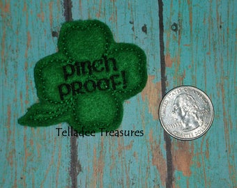 Shamrock Pinch Proof Four Leaf Clover Feltie - Small Green felt - Great for Hair Bows, Reels, Clips, Pins and Crafts