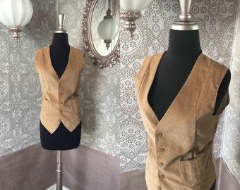 Vintage 1970's Tan Corduroy Vest Medium