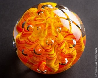 Blown Glass Paperweight - Contoured Bright Hot Color Swirls with Ribs and Bubbles