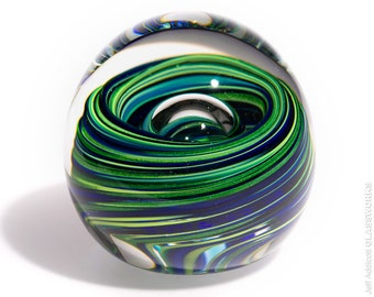 Hand Blown Glass Paperweight - Blue and Sparkly Green Swirls with Bubble - Extra Small Round