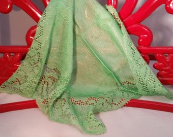 Green Machine Knitted Hankie Hanky Vintage