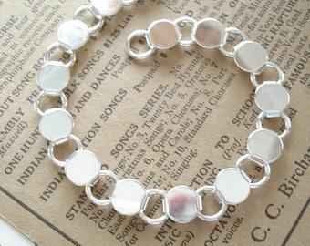 Bracelet Blank. Extra Long Length. Silver Plated Round Disc and Loop Bracelet Form. Glue On Bracelets. Jewelry Crafts Destash Supplies Sale.
