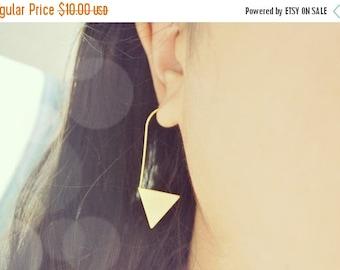 SALE Gold Triangle Wire Ear Jacket Earrings