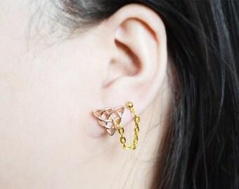 Gold Geometric Celtic Knot Double Pierce Lobe Earrings (Pair)