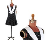 Vintage 1960's Black + White Mod Mini Drop Waist Baby Doll Retro Preppy Shift Dress XS NOS