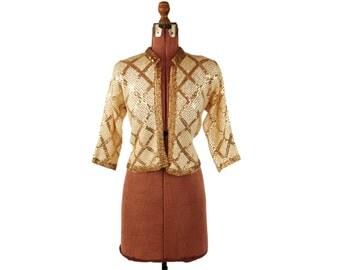 Vintage 1950's Gene Shelly Cream Sheer Wool Knit Gold Metallic Sequin Cardigan Sweater M