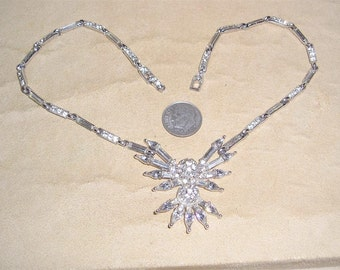 Vintage Signed Bogoff Tear Drop Necklace With Clear Rhinestones Rhodium Plated 1940's Jewelry b17