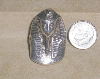 Vintage Sterling Silver Egyptian Ring Pharaoh King Tut 1960's Unsigned Size 8 Jewelry 2289