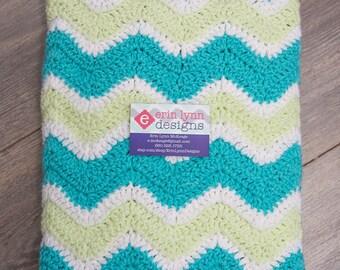Lime Aqua and White Chevron Baby Boy Crochet Afghan Blanket