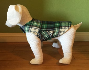 Fleece & Flannel Dog Jacket, Extra Small, Green, Navy Blue, Black, and Ivory Plaid Cotton Flannel with Navy Blue Fleece Lining