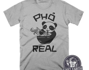 ON SALE Pho Real Funny T-Shirt Noodle Soup Tshirt Asian vietnamese Food Animal Humor Graphic Pho Soup Shirt Funny Tees Food Gifts Panda Bear