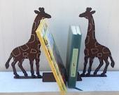 Bookends, Giraffe Bookends, Bookend, Animal bookend,  Pair of Giraffe Bookends, Metal Giraffes,