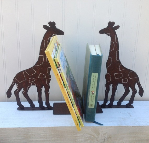 Bookends, Giraffe Bookends, Bookend, Animal bookend,  Pair of Giraffe Bookends, Metal Giraffes,