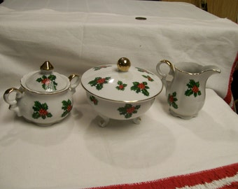 Lefton Holly Cream and  Sugar with Candy Dish Set Vintage 5pc Christmas Holiday Tabletop Green Holly and Red Berry Design