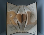 Anniversary gift-Folded book art-Personalized Wedding Gift-book art-book origami-free standing initials-Christmas gift for couple