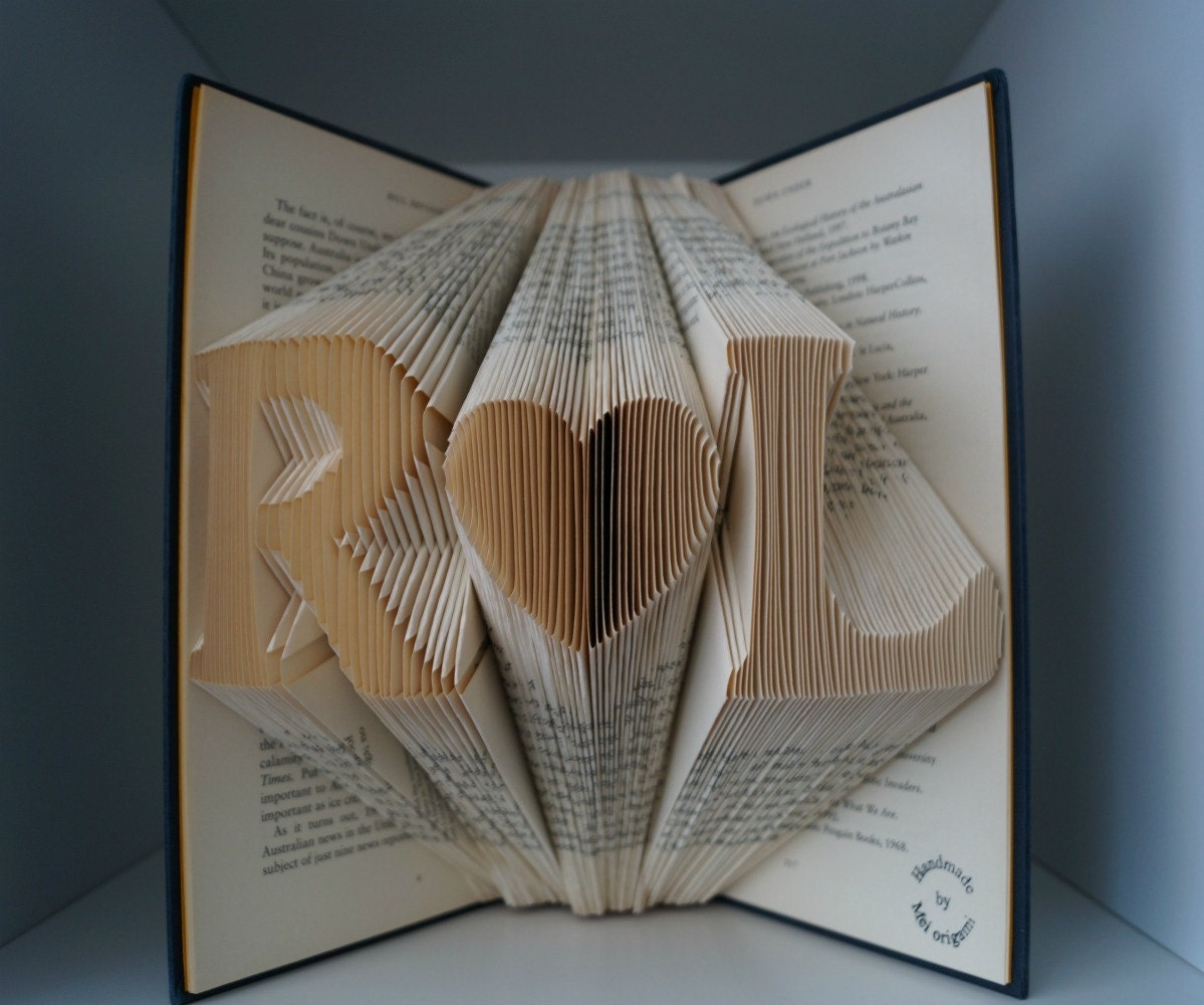 Book Art Wedding Gift : Anniversary gift-Folded book art-Personalized by Meiorigami