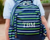 Personalized Navy Striped Backpack, Monogrammed Green Striped Back pack, Striped Backpack, Navy Backpack