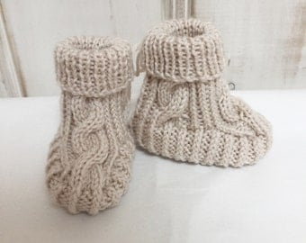 Hand knitted Cable Booties - Natural