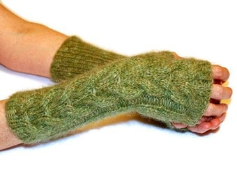Green Knit Gloves, Soft Knit Mittens, Wool Mittens, Fingerless Mittens, Arm Warmers, Christmas Gift Idea For Her