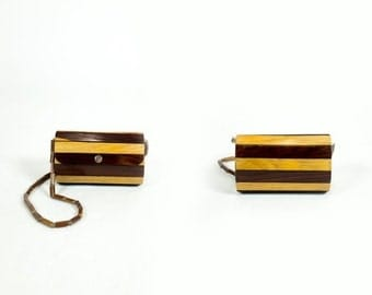 HOLIDAY SALE Vintage Handmade Two Tone Striped Wood Strip Round Beaded Clutch Shoulder Bag