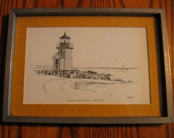 The BRANT POINT Lighthouse, NANTUCKET framed Print by Clark Goff 1975