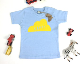 Baby Clothes Dusty Blue T-shirt Welsh Text Hapus Happy Cloud Yellow
